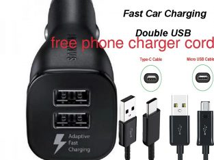 2 Port USB car charger with free phone charger cord